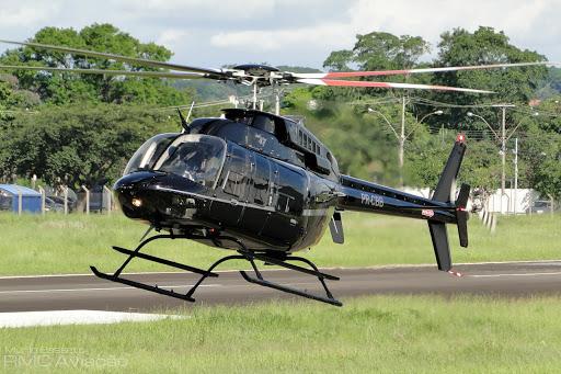 """O helicóptero Bell 407 """"PR-CBB"""" que desapareceu na manhã de domingo."""