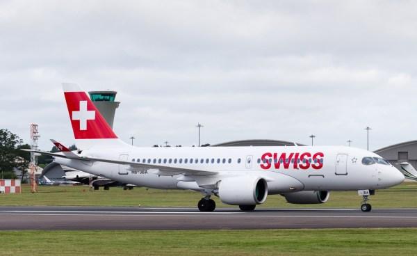 O primeiro voo comercial de uma aeronave Bombardier CS100 foi realizado pela Swiss no dia 15 de julho. (Foto: Bombardier)
