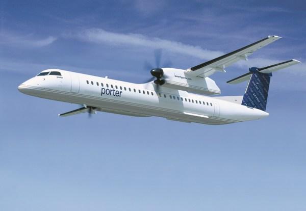 Truboélice Q400 nas cores da Porter Airlines. (Foto: Bombardier)