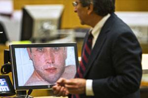 Travis Alexander, in a photo taken by Jodi Arias and shown in court by prosecutor Juan Martinez, was stabbed numerous times and shot by Arias, who claimed she killed him in self-defence.