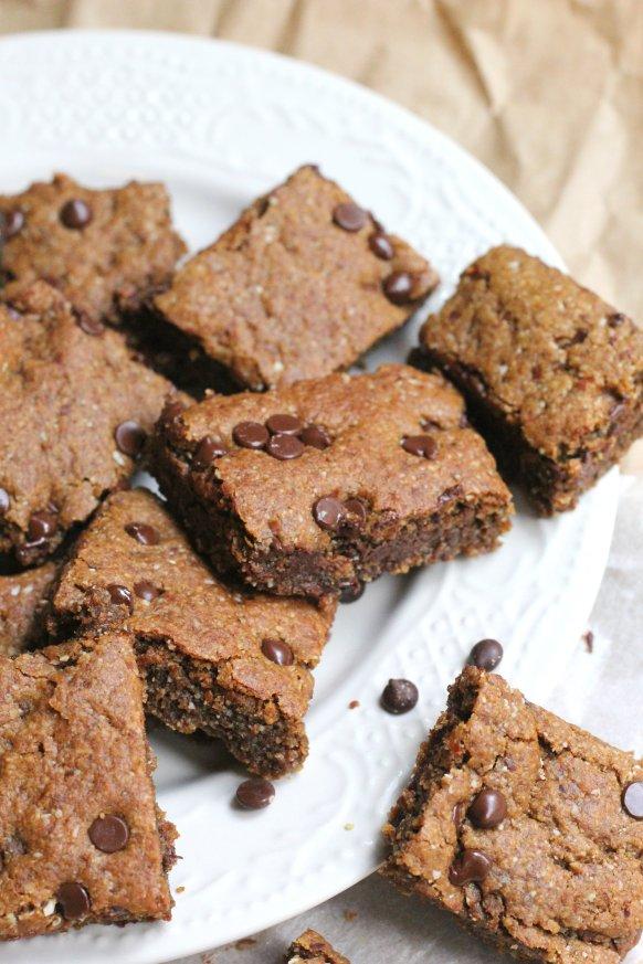 Healthy Chocolate Chip Blondies (Vegan Gluten Free)