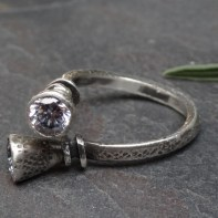 Double Zircon ring on hammered 3mm silver band - adjustable size 9 - 10