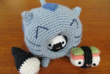 Crocheted Sushi Cat Puppet