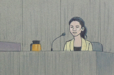 courtroom sketch of victim's family member