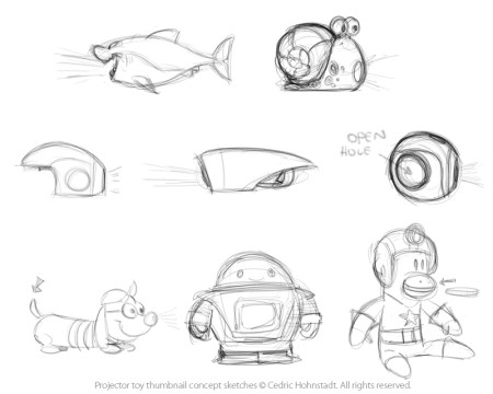 Projector toy design thumbnails