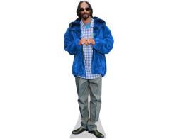 A Lifesize Cardboard Cutout of Snoop Dog wearing a blue jacket