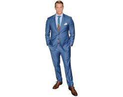 A Lifesize Cardboard Cutout of Joel Kinnaman wearing a suit