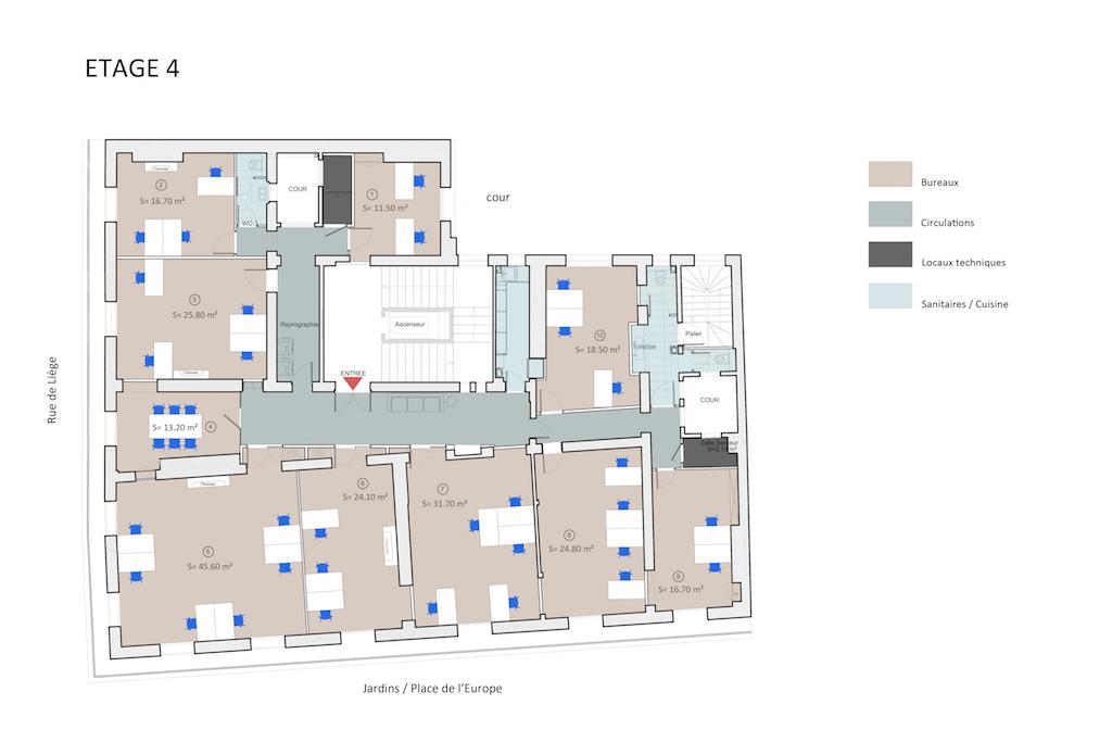 Centre d'Affaires Europe - Plan des bureaux