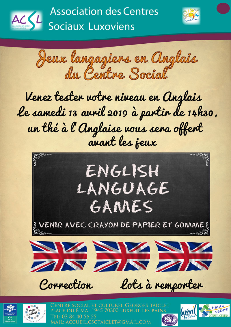 English Language Games - Samedi 13 Avril 2019 à partir de 14h30