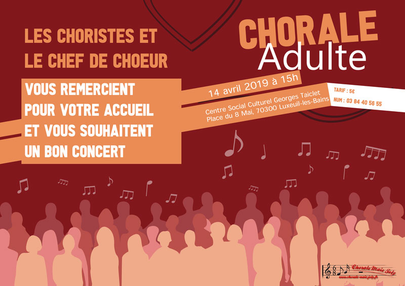 "Chorale ""Maie Joly"" - Chorale adulte -  Dimanche 14 avril 2019 à 15h00"