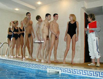 men olympic swim team showering
