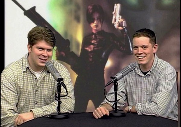 """Production still from the """"Perfect Dark"""" episode of Game Room, featuring Mark Bussler (L) and Dave Crosson (R). Image courtesy of Inecom, LLC."""