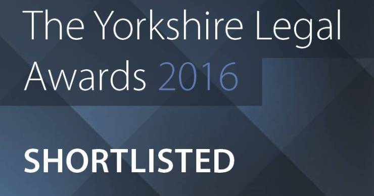 Chadwick Lawrence shortlisted at the 2016 Yorkshire Legal Awards.