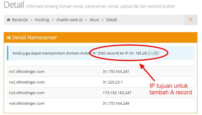 Detail akun dihostinger nameserver pointing domain subdomain