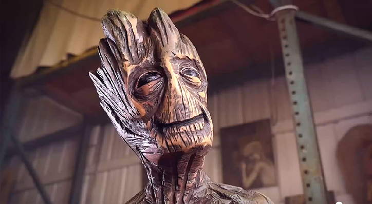 Groot carved with a chainsaw journal