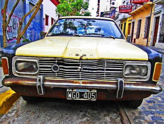 Vintage cars Latin America Buenos Aires white Ford Taurus