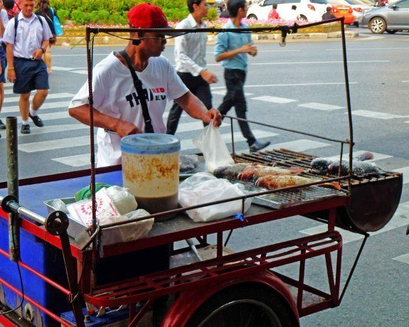 Bangkok street food grilled fish