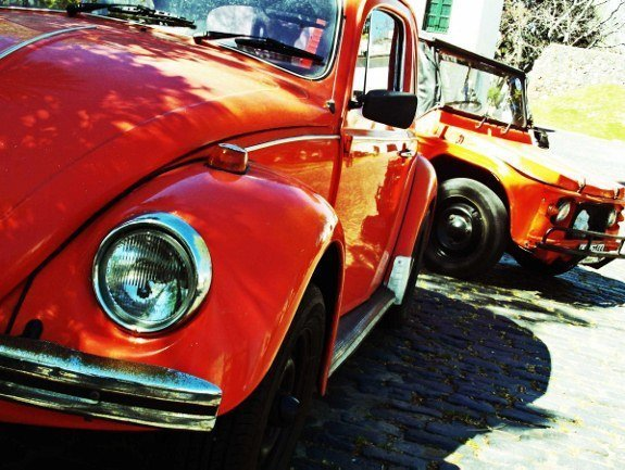 Vintage car orange volkswagen Uruguay