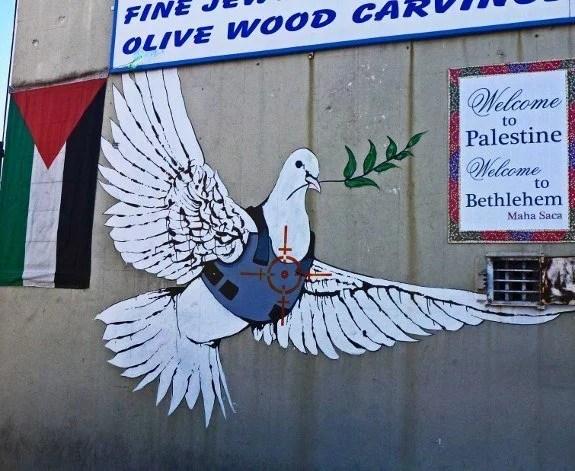 Security wall in Israel murals dove Banksy