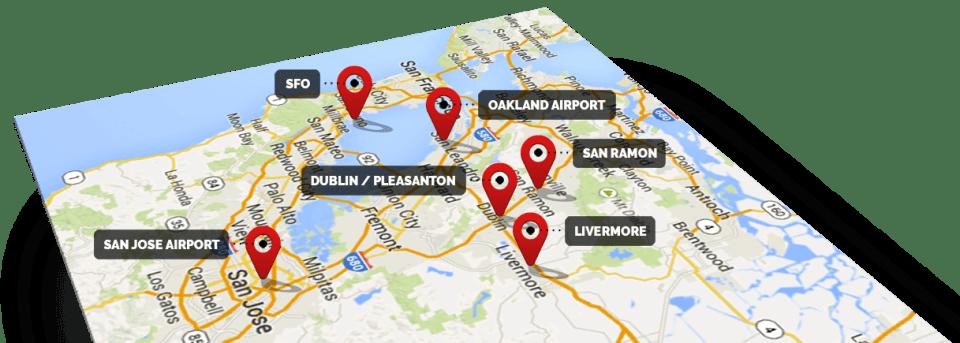 Local Taxi Service area map, including Dublin, Pleasanton, Livermore, San Ramon, SFO, Oakland Airport, and San Jose Airport