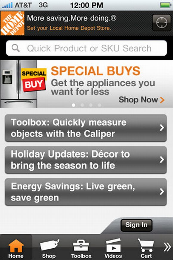 home depot iphone ipad app