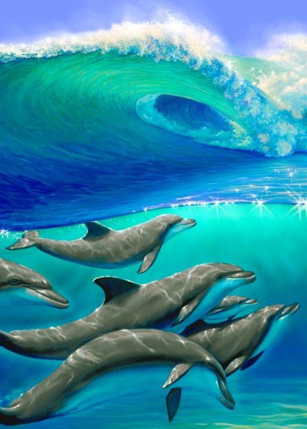 Six Dolphins and Wave