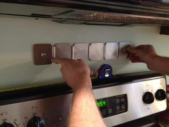 Installing a magnetic spice rack - charleston crafted