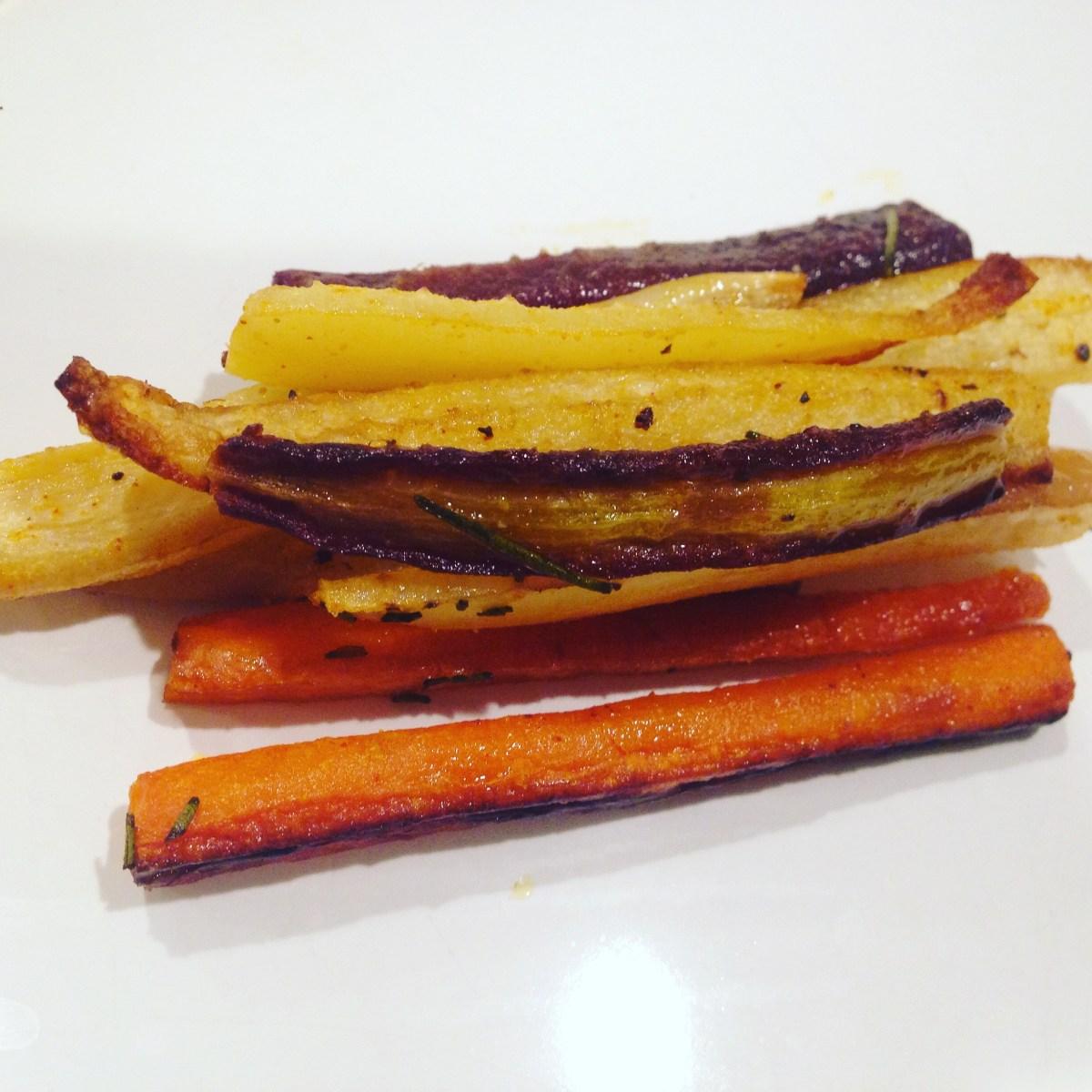 Roasted Maple Rosemary Carrot Fries