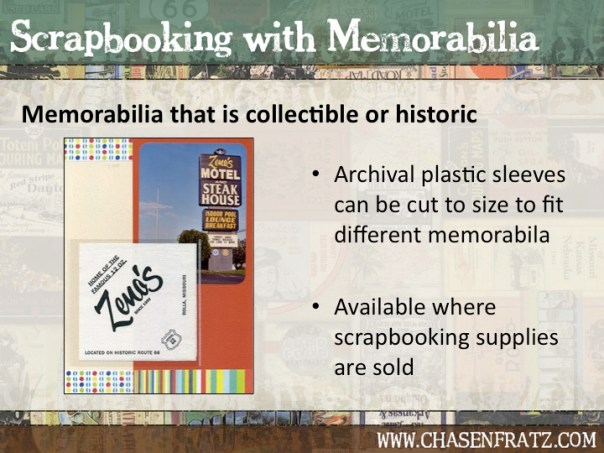 Archival plastic sleeves can display collectibles on a scrapbook page.