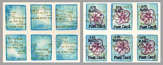 faux postage with flowers