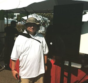 This is my work colleague Jason at our Displays that Pay booth at the Murmuration Festival on Sunday.