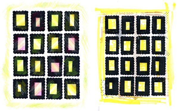 Faux postage printouts colored with pencil and markers.