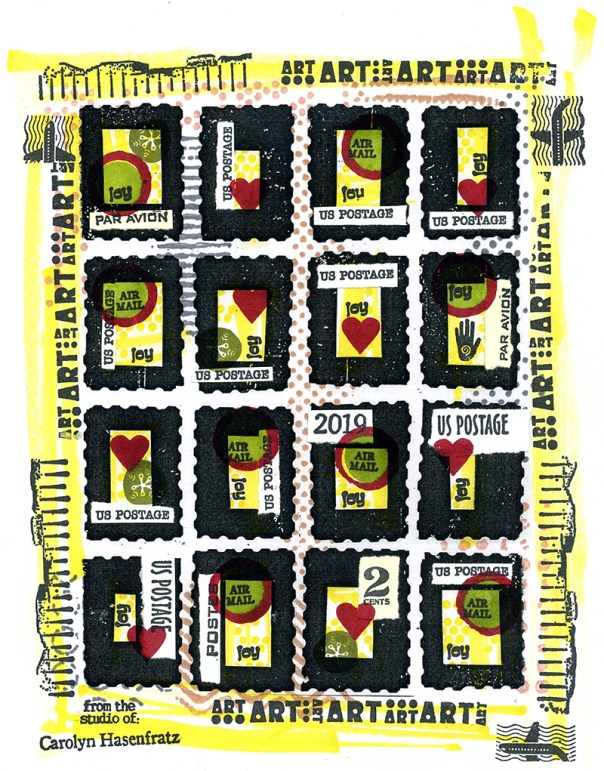 Finished sheet of faux postage stamps made to put on my 2019 Christmas cards.
