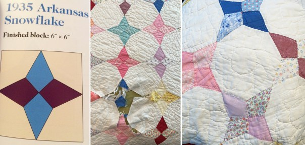 Arkansas snowflake quilt being repaired