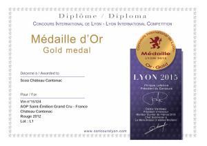Concours Int. Lyon - Médaille Or - Ch. Cantenac 2012
