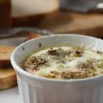 Baked Eggs with Mushrooms, Shallots & Rosemary