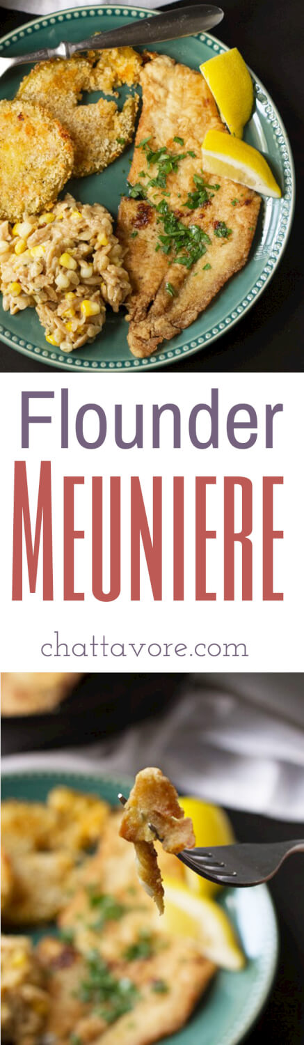 Lightly floured, sautéed in brown butter, and spritzed with lemon, flounder meuniere is a delicious way to serve fish to your family!   recipe from Chattavore.com