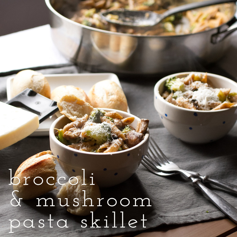 Broccoli and mushroom pasta skillet is just that - lots of vegetables and pasta, one skillet. A lightly creamy sauce completes this perfect weeknight meal! | recipe from Chattavore.com