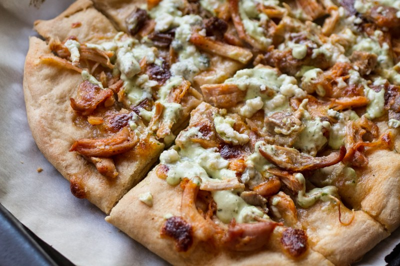 This pizza style Buffalo chicken bread is not too heavy but is flavorful enough to satisfy your Buffalo chicken pizza cravings.   recipe from Chattavore.com