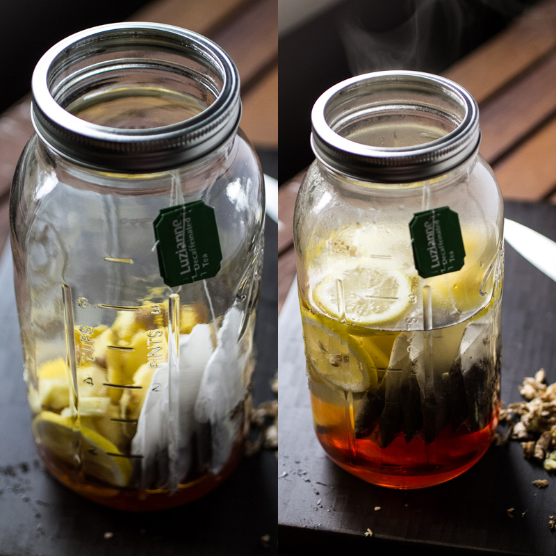 In the South, sweet iced tea - or sweet tea, as we call it - is a way of life. This is a twist on the classic, with honey, ginger, and lemon. | recipe from Chattavore.com