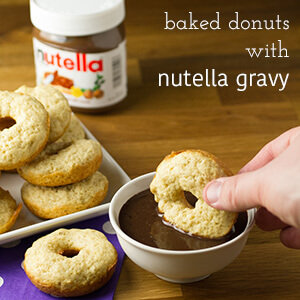 Yep, you read that right - baked donuts with NUTELLA chocolate gravy. Chocolate gravy is a Southern classic and it's great with donuts!   recipe from Chattavore.com