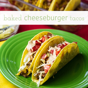 Baked cheeseburger tacos are stuffed with ground beef and cheese, baked, and topped with lettuce, tomato, and a classic burger sauce.   recipe from Chattavore.com
