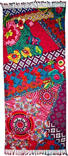 Desigual-Womens-Rectangle-Cenefa-Purple-Scarf-One-Size-0