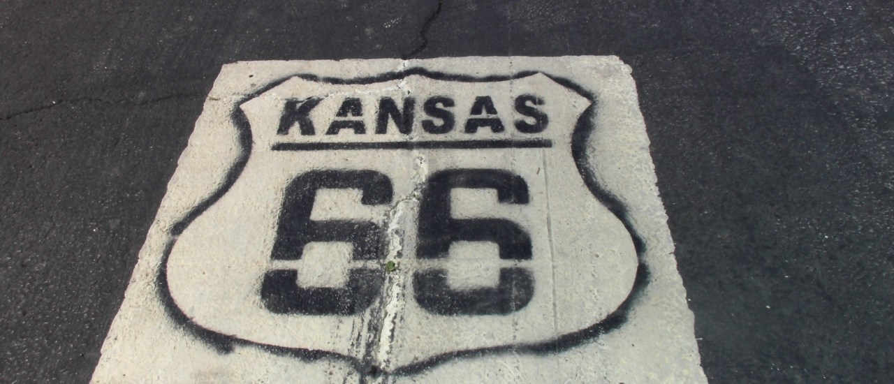 Rt66 Shield painted on the road in KS