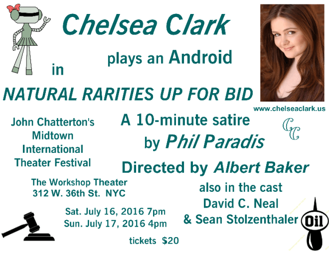 Chelsea Clark plsys an android in Phil Paradis' play, NATURAL RARITIES UP FOR BID