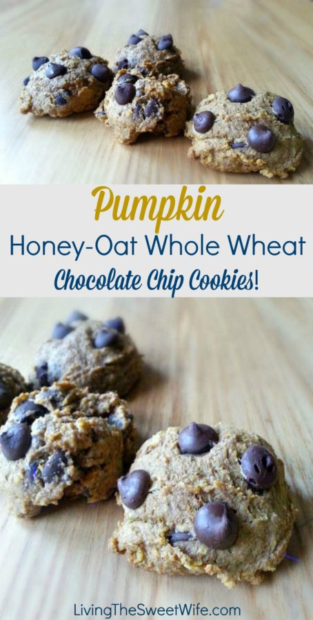 Pumpkin Honey-Oat Whole Wheat Chocolate Chip Cookies! |Living the ...
