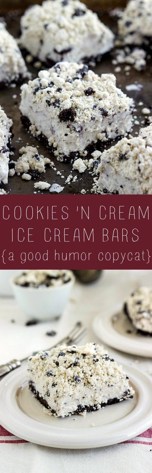 The BEST cookies and cream ice cream bars - a good humor treat copycat! #icecream #easy #dessert