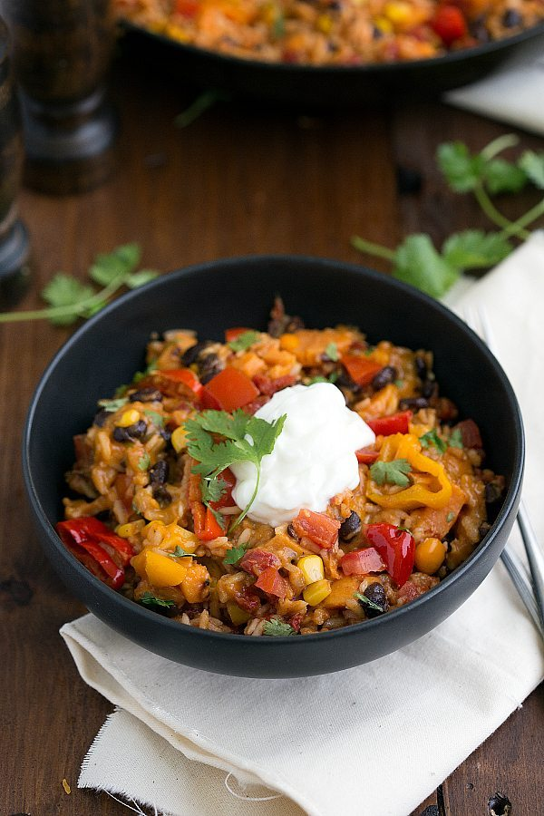 one-skillet 30-minute sweet potato burrito bowl. Best dinner ever!!