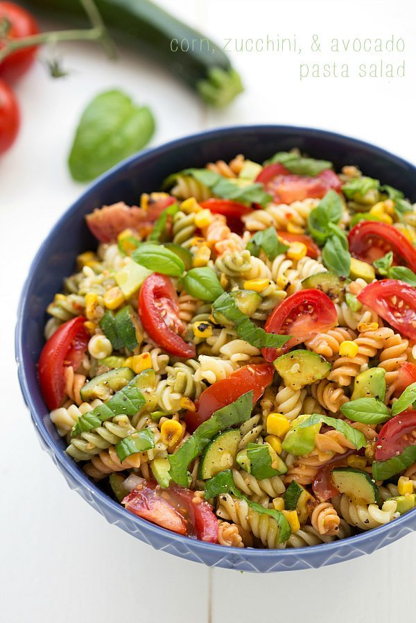 simple and healthy roasted corn, zucchini, and avocado pasta salad ...