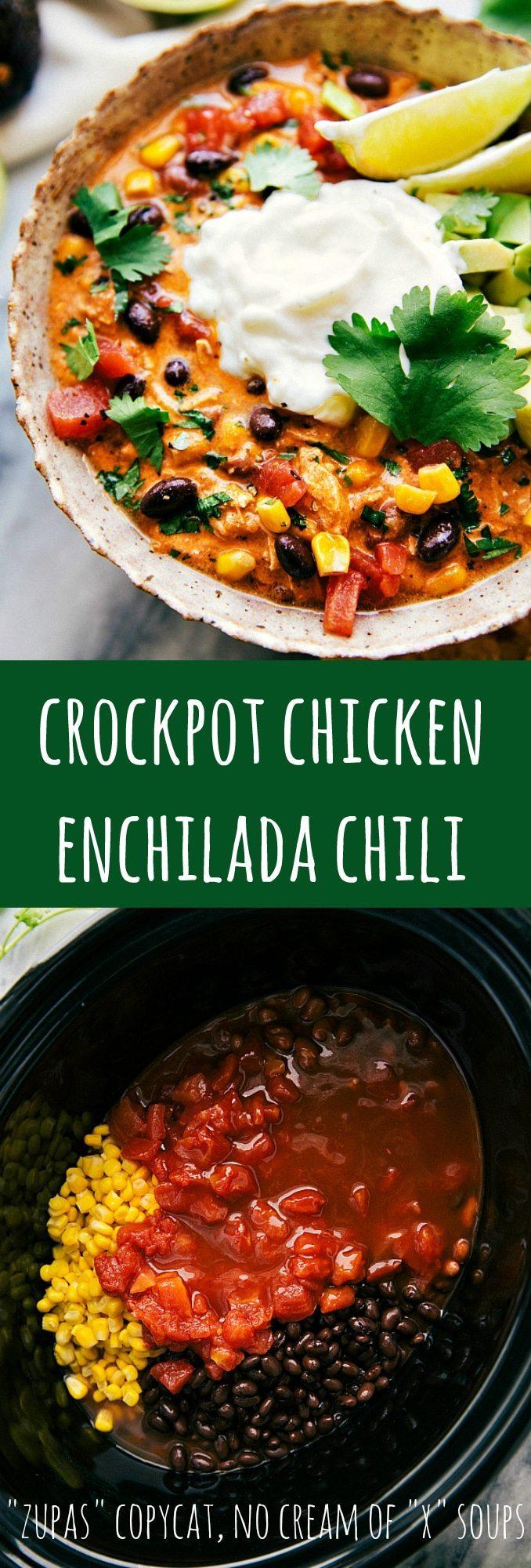 Easy Crockpot Creamy Chicken Enchilada Chili Chelseas